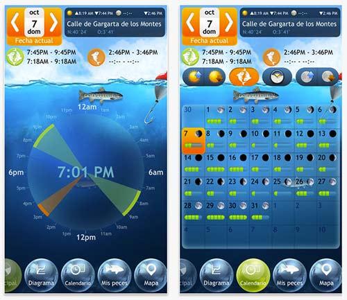Calendario de pesca en aplicaciones móviles